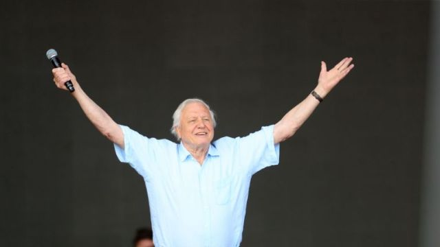 Sir David Attenborough making a surprise appearance on Glastonbury's Pyramid stage to launch the BBC's new natural history series Seven Worlds, One Planet which will premiere later this year. PRESS ASSOCIATION Photo. Picture date: Sunday June 30, 2019. See PA story SHOWBIZ Glastonbury Attenborough. Photo credit should read: Aaron Chown/PA Wire