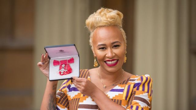 singer Emeli Sande poses with her medal after being invested as a Member of the Order of the British Empire (MBE) for services to music following an investiture ceremony at Buckingham Palace in London on February 8, 2018