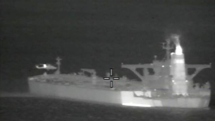 Royal Marines fast-roping onto the oil tanker in the early hours