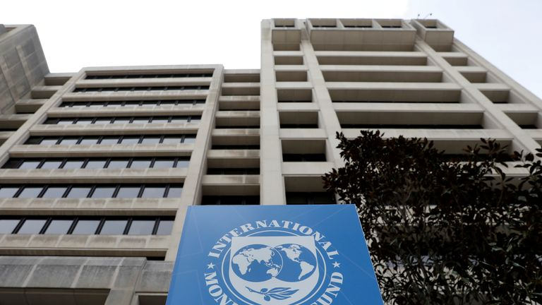 FILE PHOTO: The International Monetary Fund (IMF) headquarters building is seen ahead of the IMF/World Bank spring meetings in Washington, U.S., April 8, 2019