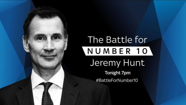 Watch The Battle for Number 10: Jeremy Hunt on Sky News at 7pm