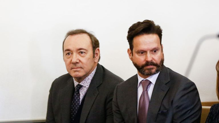 NANTUCKET, MA - JANUARY 07:  Actor Kevin Spacey with his lawyer Alan Jackson during his arraignment for sexual assault charges at Nantucket District Court on January 7, 2019 in Nantucket, Massachusetts.  (Photo by Pool/Getty Images) *** Local Caption *** Kevin Spacey; Alan Jackson