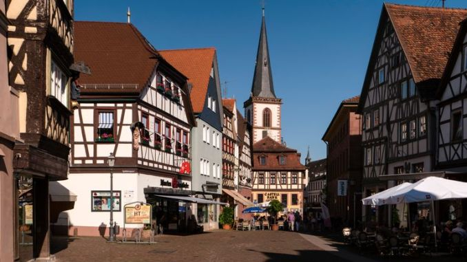 LOHR AM MAIN, GERMANY - MAY 27, 2017: Lohr am Main (officially: Lohr a.Main) is a town in the Main-Spessart district in Lower Franconia (Unterfranken) in Bavaria, Germany. It has a population of around 15,000.