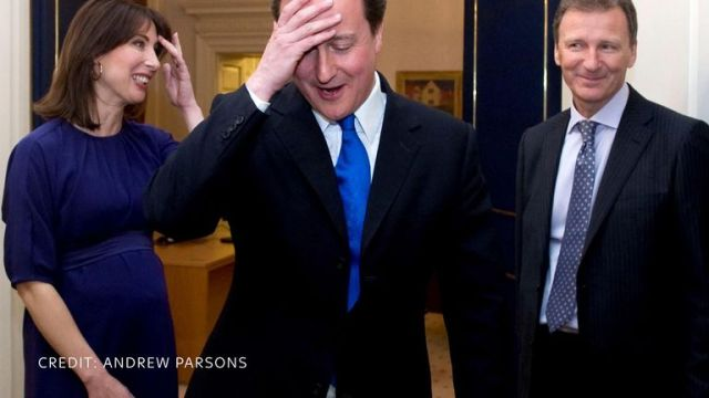 David Cameron moments after entering 10 Downing Street. Pic: Andrew Parsons