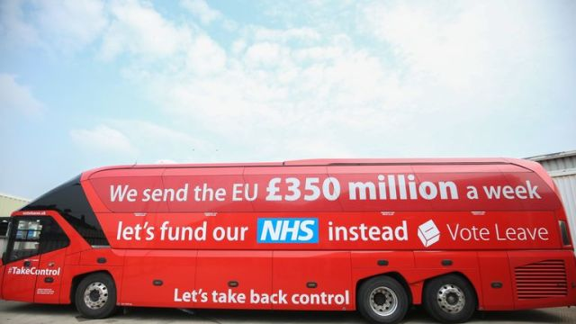 "Vote Leave notoriously claimed ""we send the EU £350m a week"" on the side of a bus during the EU referendum"