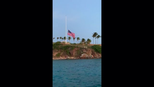 The flag at half mast on Epstein's island. Pic: Salty Dog Day Sails