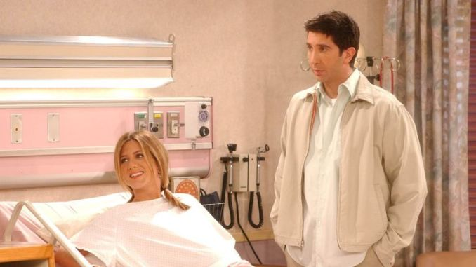 Jennifer Aniston and David Schwimmer as Rachel and Ross in Friends