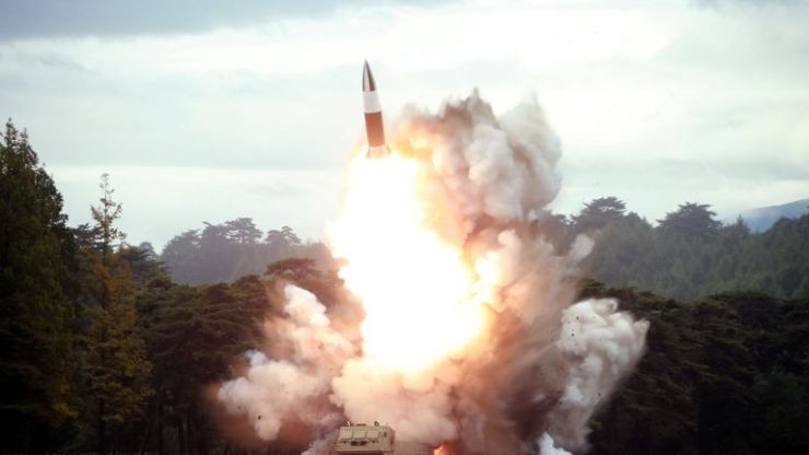A photo from North Korea's Korean Central News Agency (KCNA) of a missile test fire on Friday
