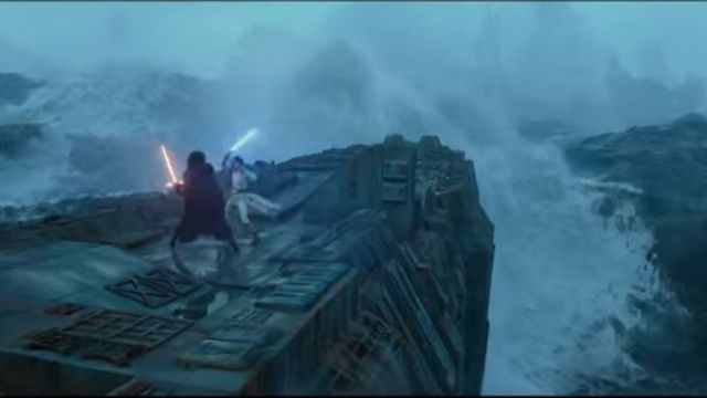 Daisy Ridley's Rey fights Adam Driver's Kylo Ren in the middle of the ocean. Pic: Disney