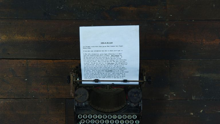 The Clash Joe Strummer's typewriter, part of The Clash: London Calling exhibition at the Museum Of London from November 15 2019