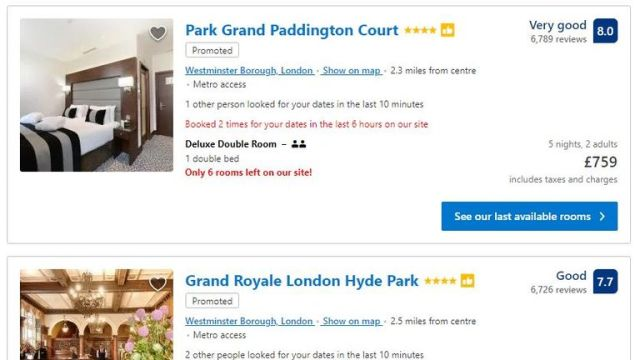 Booking.com advises customers of the availability and popularity of hotel rooms. Pic: Booking.com
