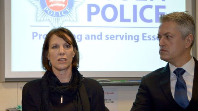 Previously unissued picture dated 07/01/15 of Breck Bednar's mother Lorin LaFave and partner Simon Goodwin at an Essex Police media briefing