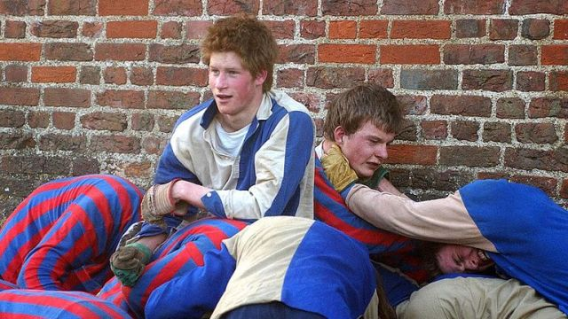 Prince Harry takes part in the Wall Game at Eton College in 2003