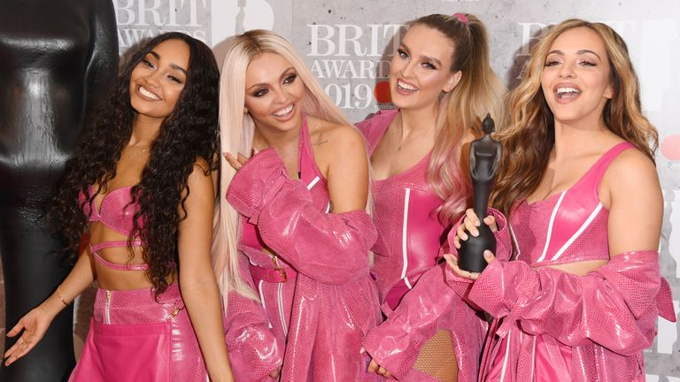 Perrie Edwards, Jesy Nelson, Jade Thirlwall and Leigh-Anne Pinnock of 'Little Mix' in the winners room during The BRIT Awards 2019 held at The O2 Arena on February 20, 2019 in London, England