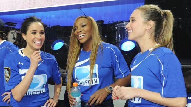 Meghan Markle, Serena Williams and Hannah Davis participate in the DirecTV Beach Bowl at Pier 40 on February 1, 2014 in New York City