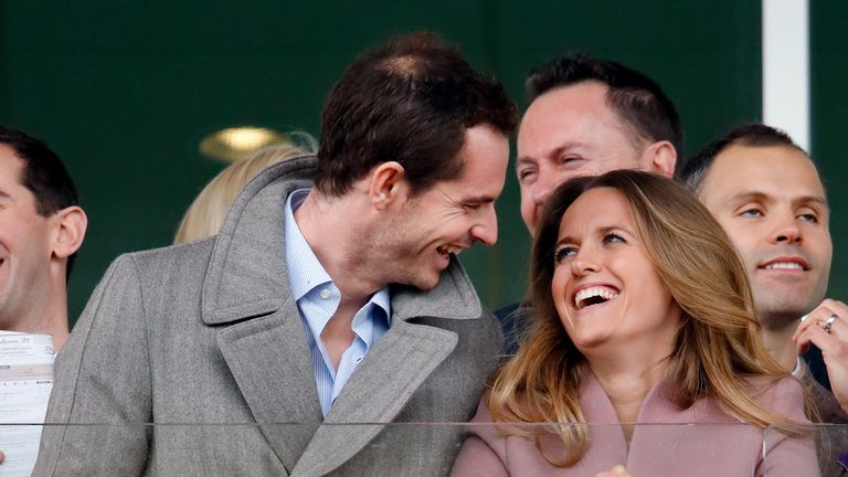 Andy Murray and Kim Murray watch the racing as they attend day 2 'Ladies Day' of the Cheltenham Festival at Cheltenham Racecourse on March 13, 2019 in Cheltenham, England