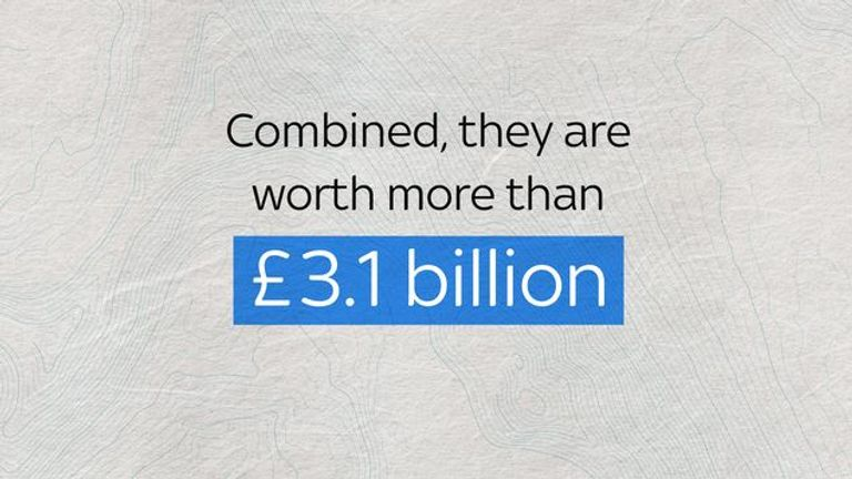 Combined they are worth more than £3.1bn