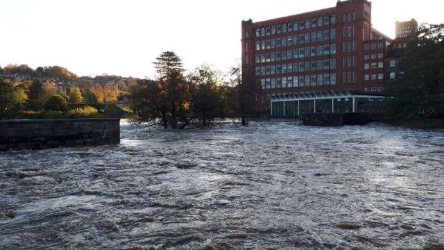 Flooding in Belper, Derbyshire, after the River Derwent burst its banks