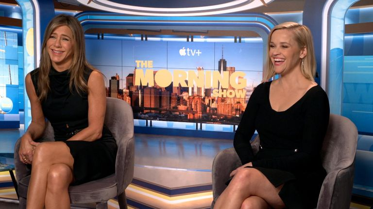 Aniston and Witherspoon tell Kay Burley the industry has changed for the better. Pic: Apple TV +