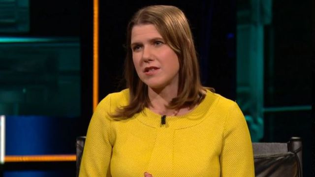 Jo Swinson was quizzed on her own after the debate. Pic: ITV