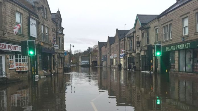A flooded street in Matlock, Derbyshire