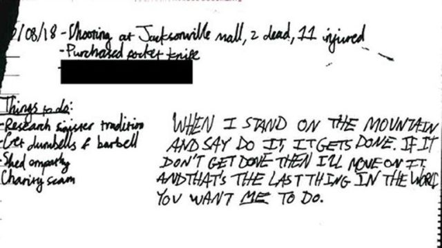 A handwritten note by the 16-year-old quoting murderous cult leader Charles Manson