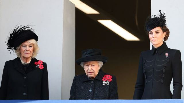 The Queen with Kate and Camilla