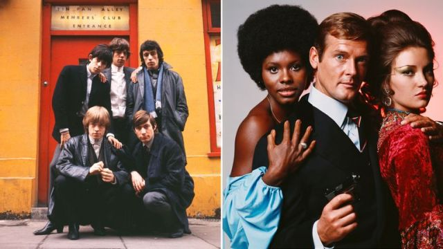 Terry O'Neill's pictures of The Rolling Stones and Roger Moore and two Bond girls. Pics: O'Neill/Iconic Images