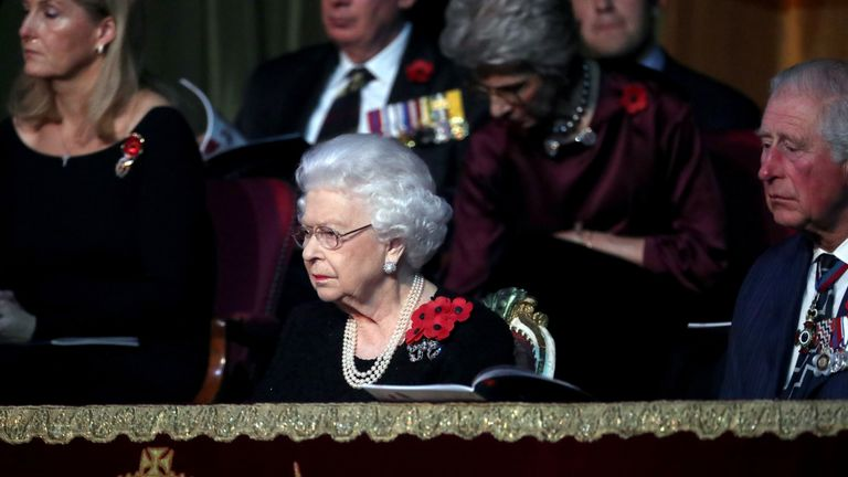 The Queen was sat next to her son Prince Charles at the event on Saturday