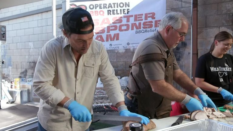 Actor Matthew McConaughey was among volunteers serving meals to first responders battling L.A. wildfires