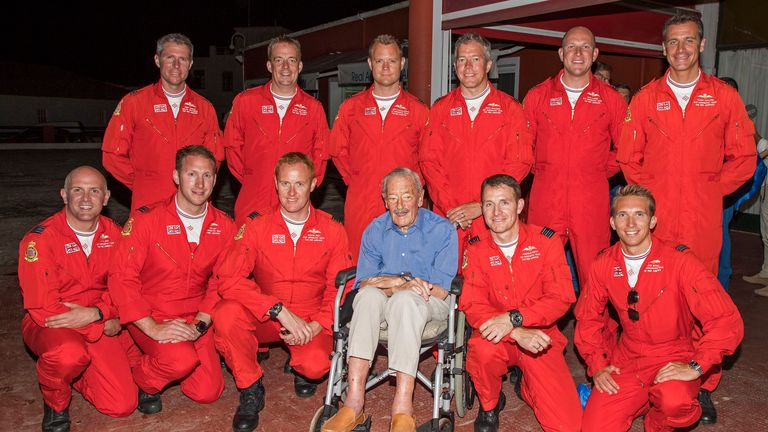 Battle Of Britain hero Maurice Mounsden met Red Arrows pilots at a reception to mark his 100th birthday
