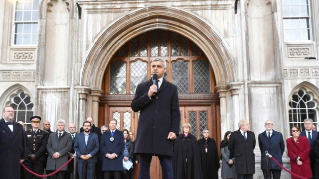 London Mayor Sadiq Khan speaks at vigil for victims of a fatal attack on London Bridge in London