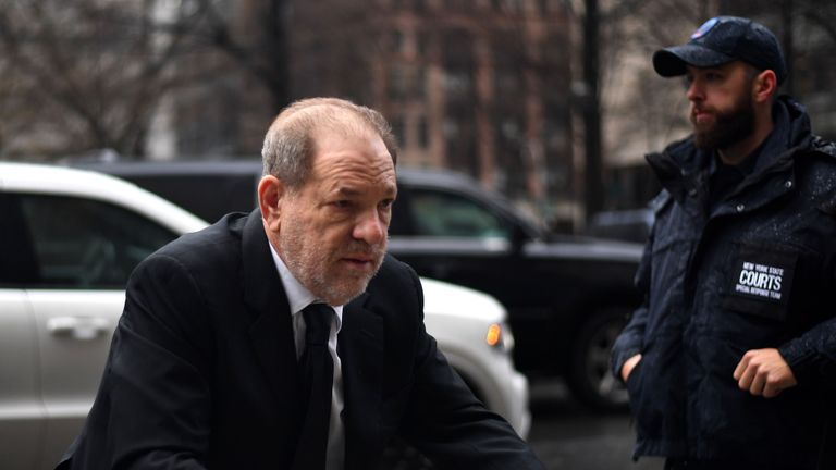 Harvey Weinstein arrives at Manhattan Criminal Court on January 16, 2020, in New York City. (Photo by Johannes EISELE / AFP) (Photo by JOHANNES EISELE / AFP via Getty Images)