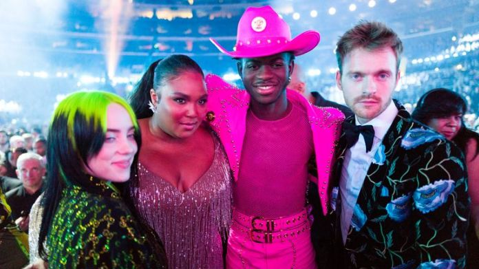 (L-R) Billie Eilish, Lizzo, Lil Nas X and Finneas O'Connell attend the 62nd Annual GRAMMY Awards on January 26, 2020 in Los Angeles, California