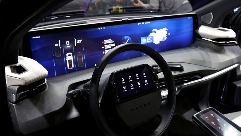 An interior view of the Byton M-Byte all-electric SUV