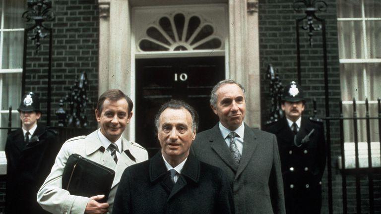 Derek Fowlds (left) with Yes Minister co-stars Paul Eddington (centre) and Nigel Hawthorne (right)