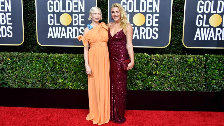 Michelle Williams and Busy Philipps at the Golden Globes