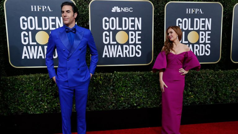 Sacha Baron Cohen and Isla Fisher at the Golden Globes 2020