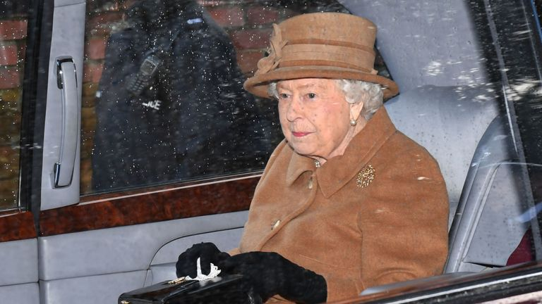 The Queen pictured after attending church