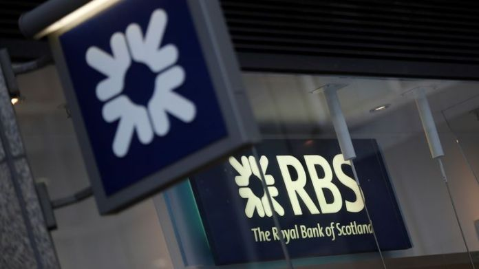 Royal Bank of Scotland signs are seen at a branch of the bank, in London, Britain December 1, 2017