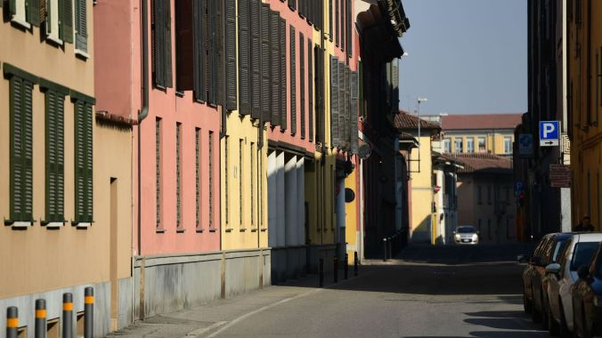 A general view shows a deserted street in Codogno, southeast of Milan, on February 22, 2020