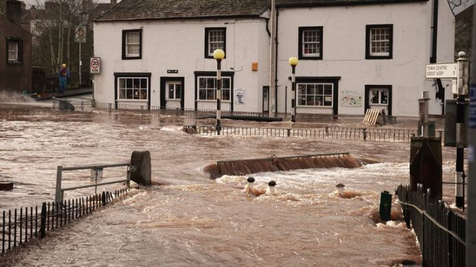 Flooded streets in Appleby-in-Westmorland, Cumbria, when the Ciara storm hit