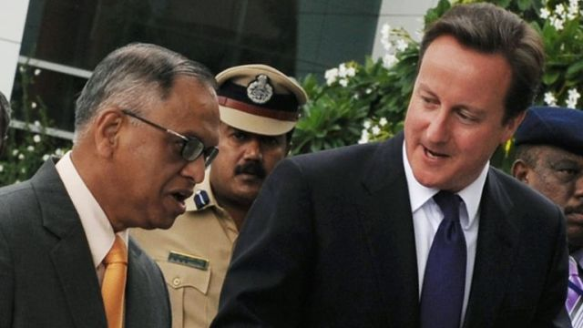 N.R.Narayana Murthy with former Tory prime minister David Cameron in 2010