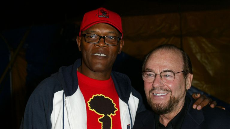 Samuel L. Jackson & James Lipton during Cirque du Soleil Presents Its Latest Touring Production, Varekai - Red Carpet and Inside Party at Cirque Du Soleil in Los Angeles, California, United States. (Photo by Donato Sardella/WireImage)