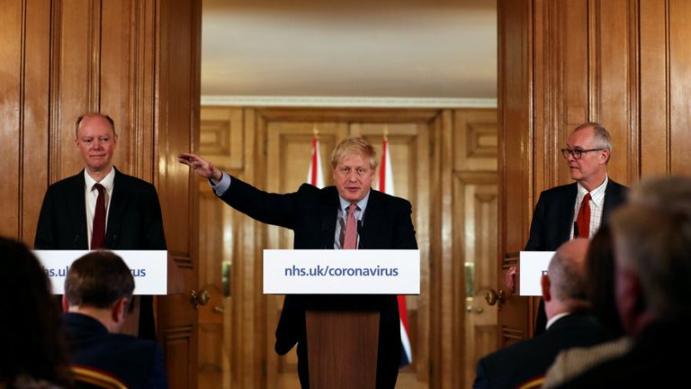 Prime Minister Boris Johnson, alongside Chief Medical Officer for England Chris Whitty (left) and Chief Scientific Adviser Sir Patrick Vallance (right), during a press conference, at 10 Downing Street, London, after the latest COBRA meeting to discuss the government's response to coronavirus crisis.