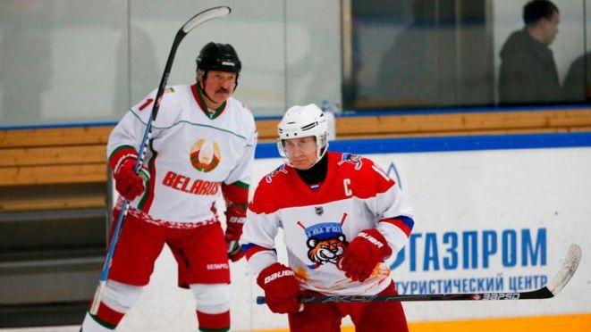 Alexander Lukashenko (pictured here with Vladimir Putin) is against imposing strict coronavirus measures