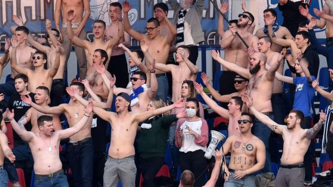 Few face masks were visible as FC Minsk fans watched their team play in Belarus