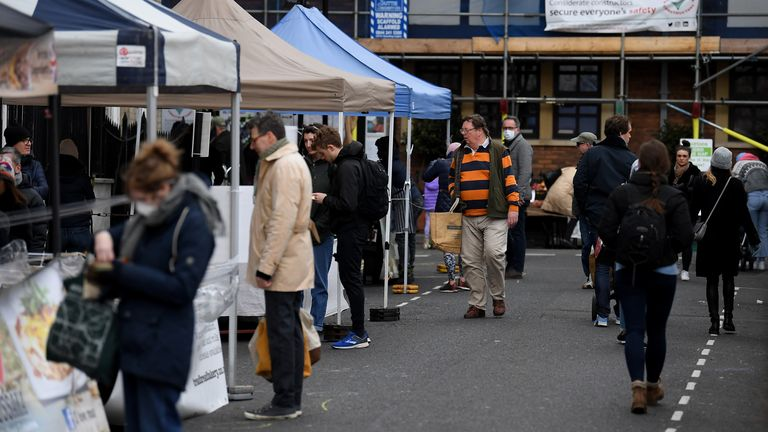 Shoppers were seen at the market despite advice to stay at home