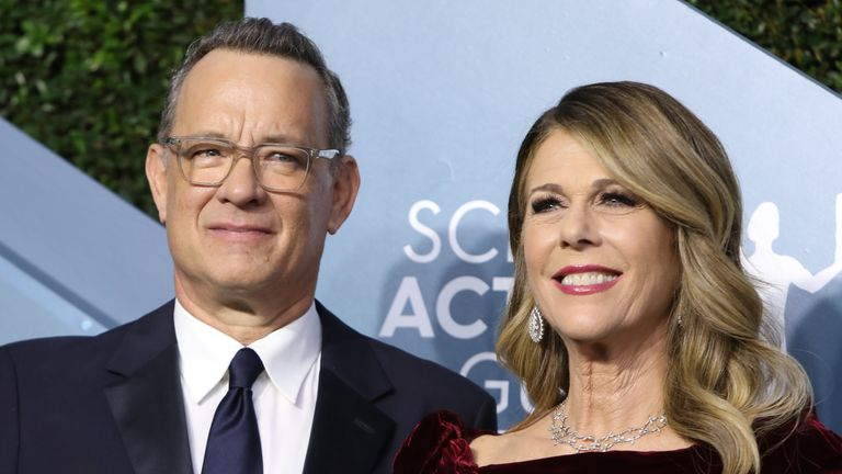 Tom hanks and his wife Rita Wilson at the Screen Actors Guild Awards in Los Angeles in January
