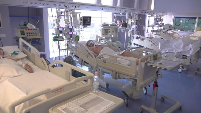 Intensive care room in hospital in Lombardy, Italy